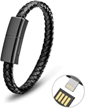 Aqonsie USB Charging Bracelet Cable Fashion Portable Braided Leather Wrist Data Charger Cord, Perfect Birthday/Christmas/N...