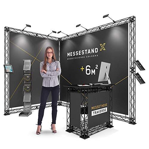 KONORG Profi Messestand Traverse Cologne 6 m² - Modularer Eckstand für werkzeugfreie Montage - Leichter Motivwechsel der Messewände durch einfaches Clipsystem (schwarz ohne Tasche)