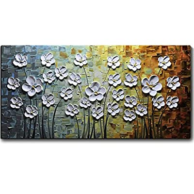 V-inspire Paintings, 24x48 Inch Paintings White Daisy Flower Oil Painting 3D Hand-Painted On Canvas Abstract Artwork Art Wood Inside Framed Hanging Wall Decoration Abstract Painting from V-inspire