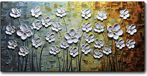V inspire Paintings 24x48 Inch Paintings White Daisy Flower Oil Painting 3D Hand Painted On product image