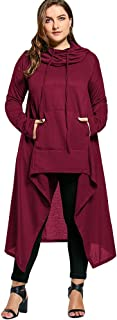 CharMma Women's Plus Size Funnel Collar High Low Hem Hoodie Sweatshirt with Pocket