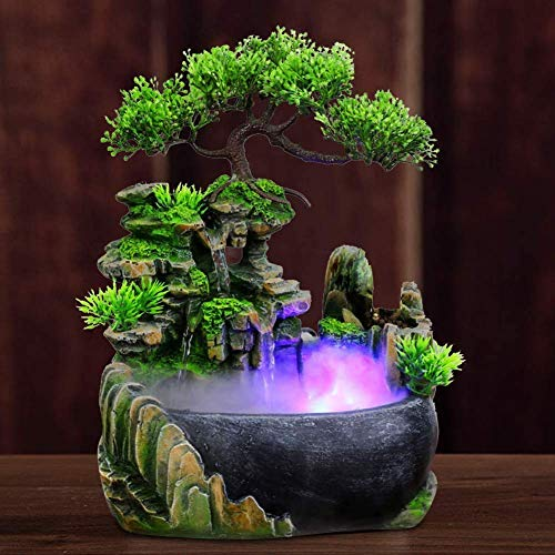 LIUSHI Tabletop Fountain - Cascade Fountain with Color Changing LED Lighting, Zen meditation Waterfall, Christmas decoration atomizer Home Office,20x15x28cm