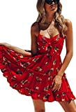 ECOWISH Womens Dresses Floral Spaghetti Strap Tie Knot Front Flowy Pleated Mini Swing Dress Red S