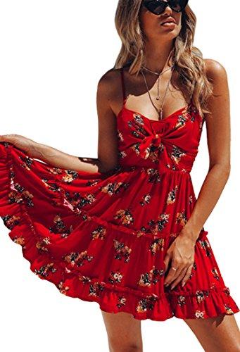 ECOWISH Damklänningar blommig spagetti rem slips knut fram blommig veckad mini gunga klänning