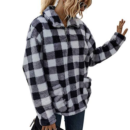 LIVACASA Felpe Donna Pullover Morbido Pile Tops Termico a Manica Lunga Maglione Donna Caldo con Tasche Ragazza Invernale Nero M