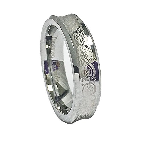 Blue Chip Unlimited Unisex 6mm Concave Tungsten Carbide Wedding Band with Laser Etched Celtic Dragon Design Size 6