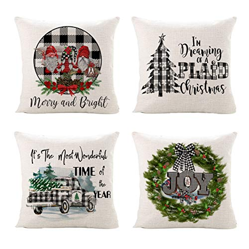 Sinpooo Christmas Throw Pillow Covers, 18 X 18 Inch Buffalo Plaid Farmhouse Cotton Linen Decorative Pillowcases Square Cushion Cover for Sofa, Couch, Bed and Car, Set of 4,Red/Black/Green