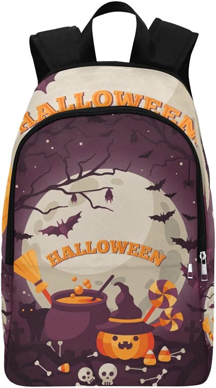 Halloween orange Pumpkin Cauldron Casual Daypack Travel Bag College School Backpack for Mens and Women