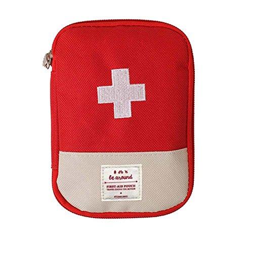EQLEF Mini Vacío Botiquín de Primeros Auxilios, Bolsa de Medicina portátil Bolsa de medicamentos para Viajes al Aire Libre (Rojo)