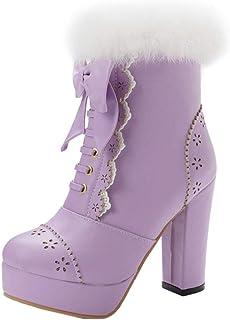 JOJONUNU Women Sweet Block Heels Dress Boots
