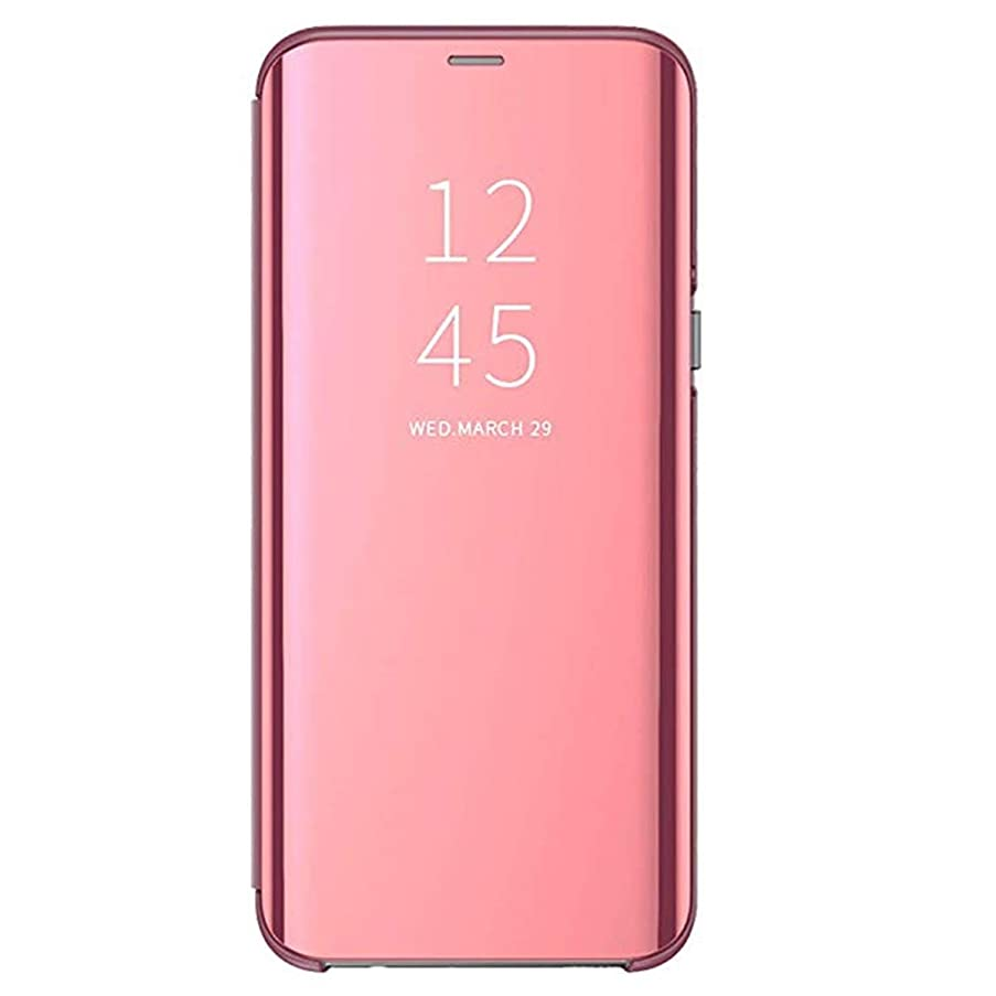 Huawei Y9 2019 Flip Case Mirror Clear View 360° Full Protection Hard PC Slim Shockproof Built in Kickstand Magnetic Cover for Smartphone Huawei Y9 2018 5.93 Inchs (Rose Gold, Y9 2019)