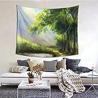 レッドカラー タペストリー 壁掛け 油絵 緑色 樹木 壁画 ホームデコレーション ウォールデコレーション 150*130cm