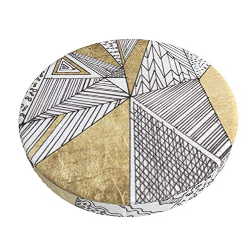 Luase Round bar Chair Cushion Cover Breathable Washable Stool Cover,Geometric Black and White Chic Faux Gold Barstool Seat Covers Elastic Stool Slipcover 13 Inch