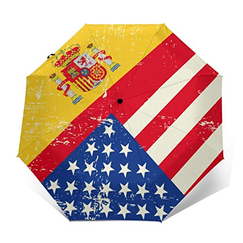 Parasol automático con diseño de bandera de Estados Unidos y España (interior de vinilo)