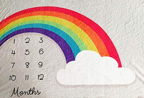 Manta mensual de hitos para bebés, 40×60 Pulgadas Infantil recién Nacido Primer año Manta arcoíris para hitos, Lana de Franela, Fotografía de Fondo Fotografía