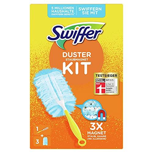 Swiffer Staubmagnet (Handgriff + 3 Tücher) Staubwedel ideal gegen Staub, Tierhaare & Allergene