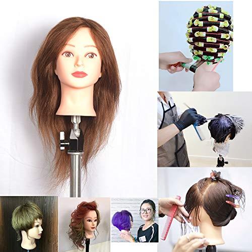 38,1 cm 100% vrais cheveux humains Marron foncé # 4, Female Barbier Coiffure Cheveux Coiffure Coupe de cheveux Student Practise Tête à coiffer poupée mannequin, avec pince de maintien