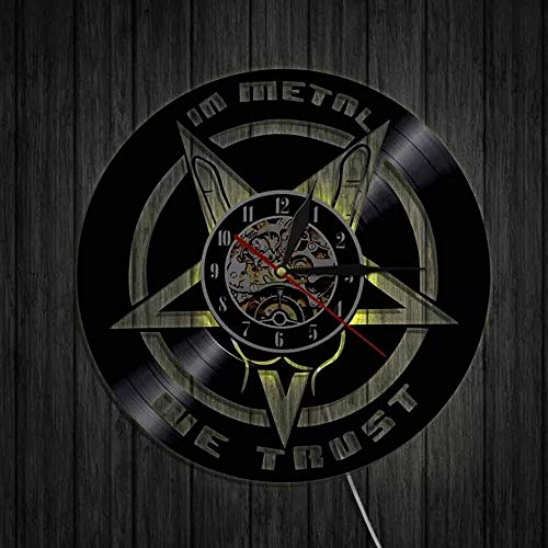 ZYBBYW Música Disco de Vinilo Reloj Mano Reloj de Pared Rock Heavy Metal música Reloj Colgante de Pared Arte decoración-with_Led_Light