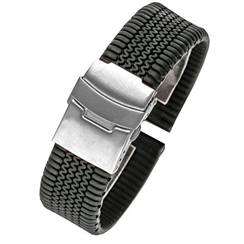 NW uomo nero in silicone gomma per orologio da polso impermeabile chiusura di distribuzione Diver pneumatico 24mm