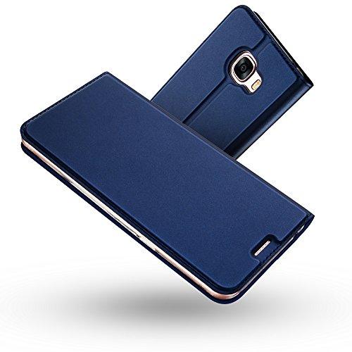 Radoo Galaxy A3 2017 Hülle, Premium PU Leder Handyhülle Brieftasche-Stil Magnetisch Folio Flip Klapphülle Etui Brieftasche Hülle Schutzhülle Tasche Case Cover für Samsung Galaxy A3 2017 (Blau)