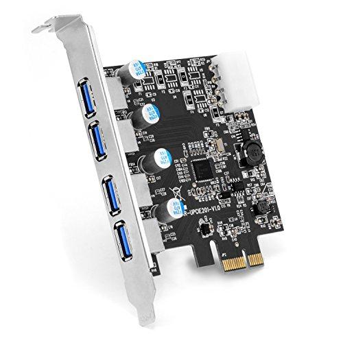 CSL - Tarjeta controladora USB 3.0 Super Speed de 4 Puertos PCIe Express - Tarjeta de eXPansión USB 3.0 - Nuevo Modelo nuevos Controladores - Distribuidor Interno USB (Electrónica)