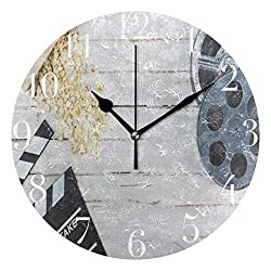 Dozili Film Reel Movie Clapper Wheel Wooden Round Wall Clock Arabic Numerals Design Non Ticking Wall Clock Large for Bedrooms,Living Room,Bathroom