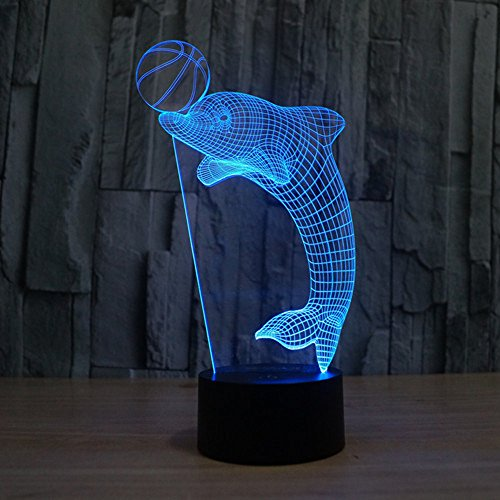 KEEDA 3D Optische Illusions Lampen, LED Touch Schreibtisch Lampe, 7 Farbwechsel Tischlampe Licht,LED Nachtlicht Kinder Dimmbar, 7 Color Changing Table Light Lamp, mit USB Kabel (Dolphin-Tauchen)