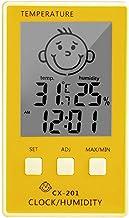 Xu Yuan Jia-Shop Termómetro Higrómetro 3 en 1 Reloj Digital Temperatura Higrómetro Registrador Meter Thermometre Termómetro Interior para habitación/baño Digital Termohigrómetro (Color : Yellow)