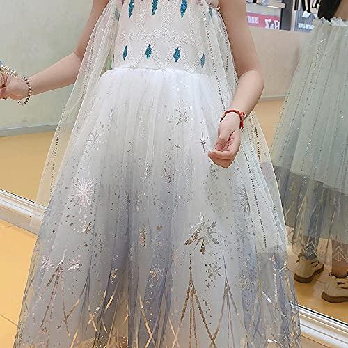 SUNXC para Bebé Niñas Vestido Elegante, Aisha Vestido de Princesa con Tirantes Falda de Gasa hinchada-Azul_150cm,Vestido Niña Princesa Tutu Disfraz Cumpleaños