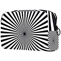 女性用コスメティックバッグ 黒と白の線を放射する ゆったりとした化粧ポーチトラベルトイレタリーバッグアクセサリーオーガナイザー