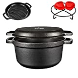 KUTIME 2 in 1 Pre-Seasoned Cast Iron, 5.5QT Cast Iron Dutch Oven with Lid,Pan and Pot Set, Black