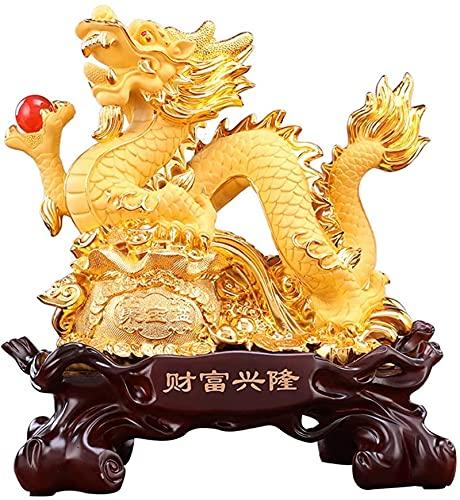 Figurilla Zen StatueFiguras coleccionables Estatuas y Figuras de dragón Chino para decoración del hogar Feng Shui Resina Dragón Paseo en Bolsa de la Suerte Escultura Decoración Adorno Coleccionables