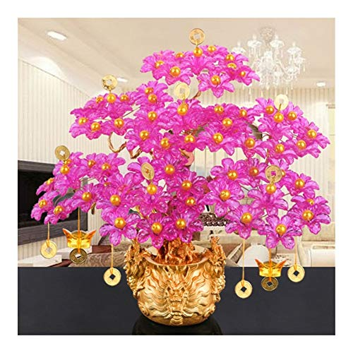 Without Feng Shui Decor Chinese Decorations Glass Beaded Fortune Tree Bonsai Bedroom Decoration Gift Feng Shui Crafts DIY Handmade Fortune Plus Pot (Color : A5)