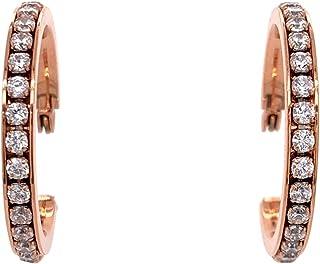 Bevilles Rose Stainless Steel Crystal Hoop Earrings 30mm