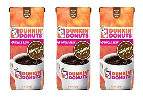 Dunkin' Donuts Original Blend Whole Bean Coffee, 12 oz. (PACK of 3)