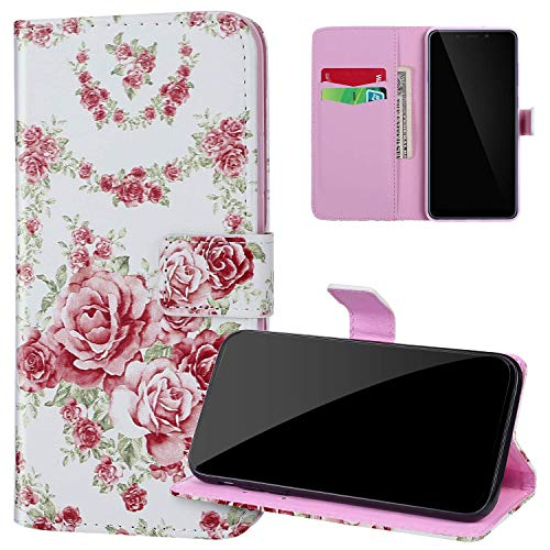 Coque Huawei P40 Lite en Cuir PU Pochette à Rabat Etui,JAWSEU Coloré Motif étui Portefeuille Magnétique Folio à Clapet Flip Case avec Porte Carte Coque pour Huawei P40 Lite,Roses
