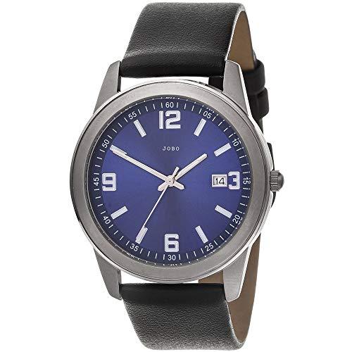 JOBO Herren Armbanduhr Quarz Analog blau Titan Lederband schwarz Herrenuhr Datum