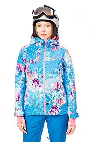 Stayer geïsoleerd thermojack dames sport ski-jack winterjas waterdicht freeride zwart wit bloemen bont patroon