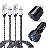 Dual USB Car Charger, Wall Charger Plug with 2 Pack 6FT Type C Cable Compatible for Samsung Galaxy S20 Plus Ultra FE 5G S21 S21+ A20 A10E A50 A51 A71 A21 A31 A41 A01 A11 A12 A02S S10 S9 Note 20 10 9