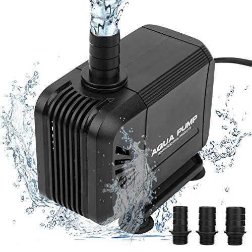 wolketon 3000L/H Wasserpumpe Aquarienpumpe, kleine Tauchpumpe, Ultra-leise Wasserpumpe für Brunnen/Wasserzirkulationssystem/Teiche/Aquarium/Gartenteich mit 3 Düse 19mm/22mm/25mm, 1.5m Netzkabel (40W)
