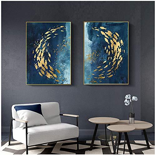 """nobrand Goldener Fisch Abstrakte Wandplakat Modern Style Leinwanddruck Malerei Kunst Wohnzimmer Eingang Dekoration Bild 60x90cm (23,6""""x 35,4"""") x2 Kein Rahmen"""