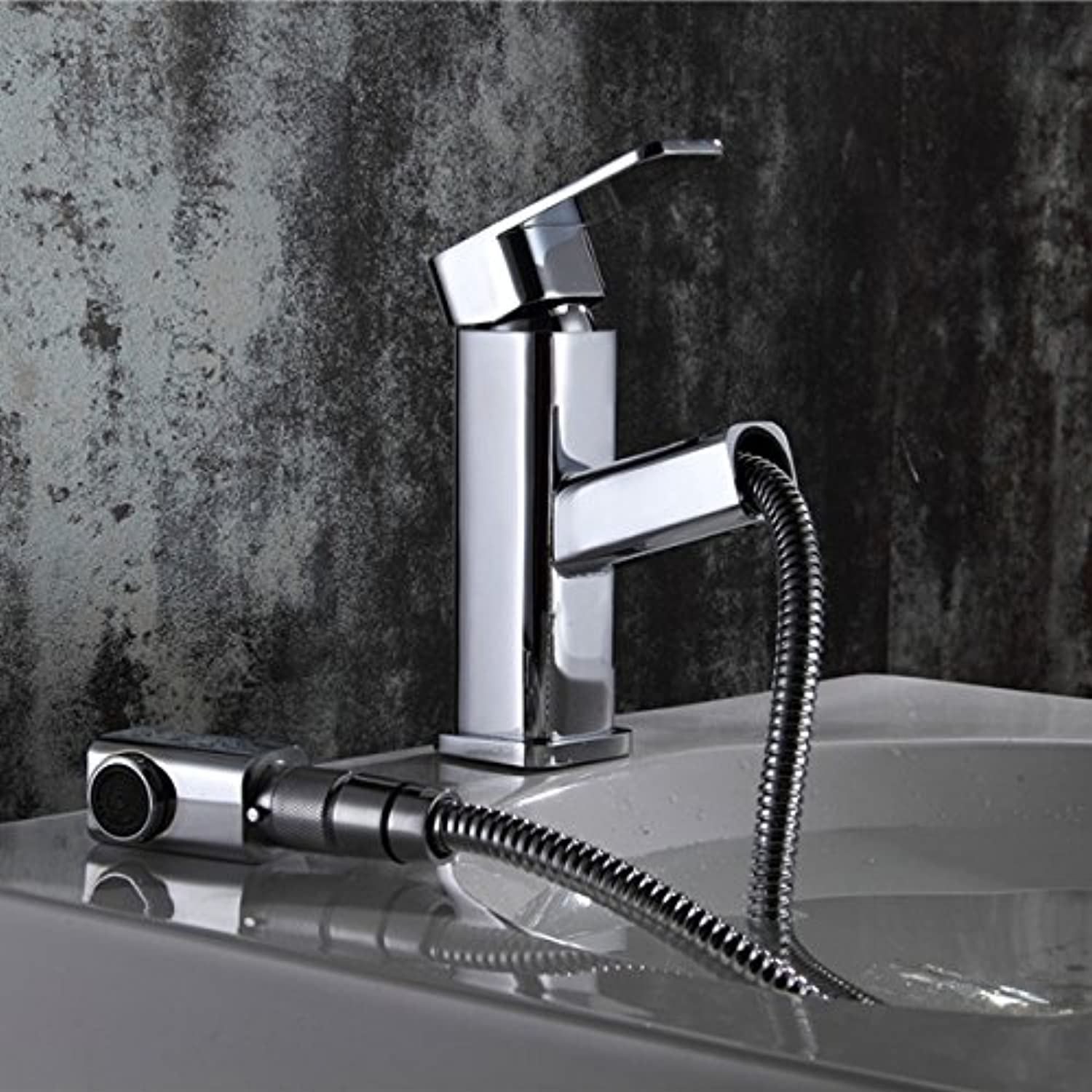 Maifeini ?Bathroom Accessories Kitchen Faucet Hot And Cold Copper Chrome-Plated Single Hole Pull Type Taps