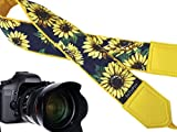 InTePro Yellow Camera Strap with Sunflowers. Adjustable Shoulder Carry Strap for Digital Cameras – Heavy Duty & Long Lasting.