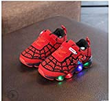 MELLOW SHOP Kids LED Shoes Spiderman Kids Boys Sports Sneakers Children Glowing Kids Shoe Chaussure Enfant Girls Shoe with LED Light