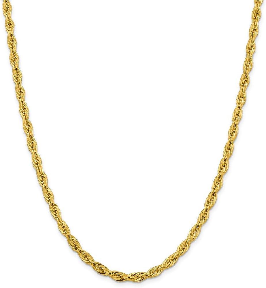 Brilliant Bijou 14k Yellow Gold Semi-Solid Rope Chain Necklace.