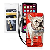 Fashion Animal French Bulldogs iPhone 11 Wallet Case with Card Holder, Magnetic Flip PU Leather Protective TPU, Durable Kickstand Shockproof Wrist Strap Phone Case Cover 6.1 Inch(2019)