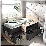 HABITMOBEL Cama Juvenil compacta con Escritorio y almacenaje Grafito 110x194x135cm
