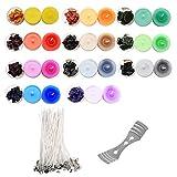 Tinte Velas, Kit de Fabricación de Velas DIY Candle Set Incluir 11 Bloques de Cera Color, 50 Mechas para Velas y 2 Soportes para Mecha Vela