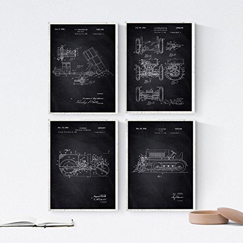 Nacnic Negro - Pack de 4 Láminas con Patentes de Camiones. Set de Posters con inventos y Patentes Antiguas. Elije el Color Que Más te guste.