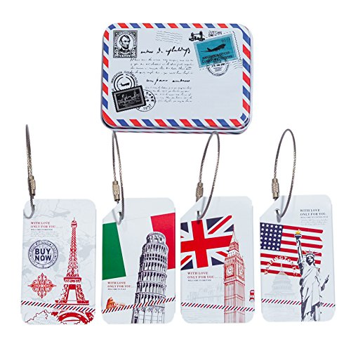 CKLT 4PCS/Set Luggage Tags Metal Suitcase Handle Hidden Individuality Travel Luggage Tags & Vintage Metal Storage Box Statue Of Liberty Eiffel Torre Di Pisa Clock Tower